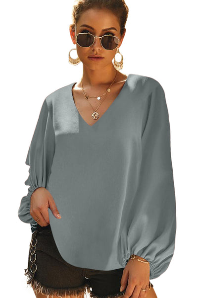 Gray Bells Will Be Ringing Balloon Sleeve Blouse