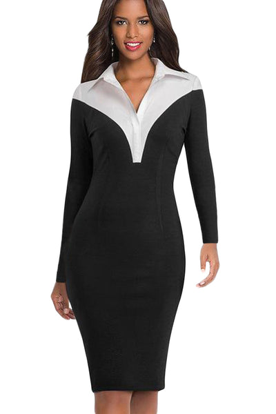 Shirt Style Patchwork Black Midi Dress