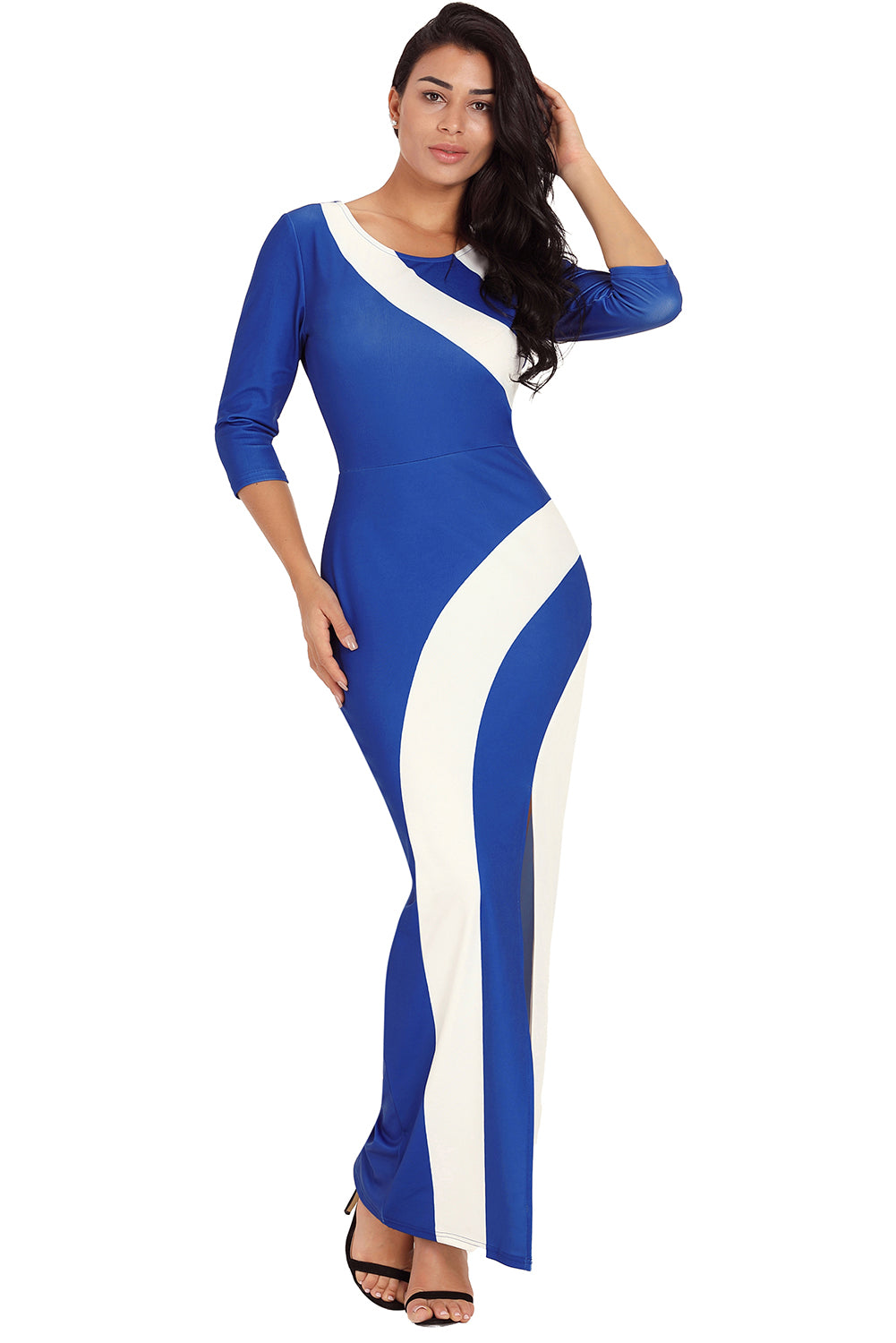 Blue White Color Block Side Slit Maxi Dress