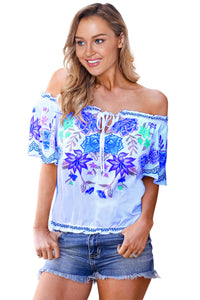 Sky Blue Cruisin Floral Top