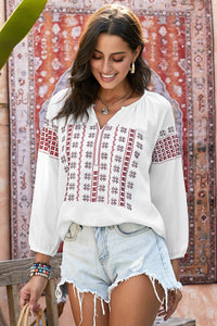 Red Ethnic Embroidery V Cut Neck 3/4 Sleeve Top