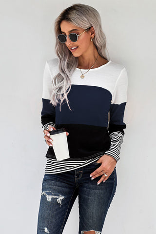 Stylish Colorblock Splicing Stripes Top