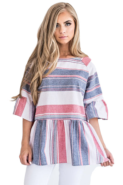 Medium Multicolor Striped Flared Tunic Top