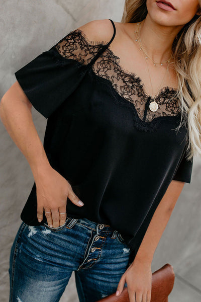 Black Lace V Neck Strappy Cold Shoulder Short Sleeves Top