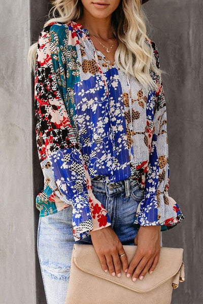 Multicolor Split Neck Printed Blouse