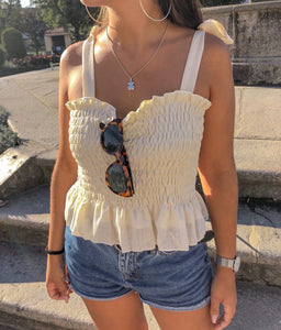 Yellow Frill Tie Shoulder Strap Vest