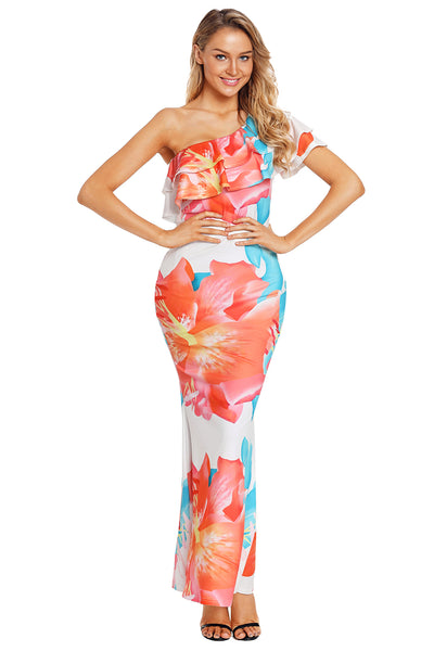 Gorgeous One Shoulder Floral Mermaid Dress