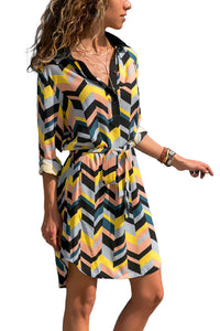 Multicolor Blocked Print Button V Neck Shirt Dress
