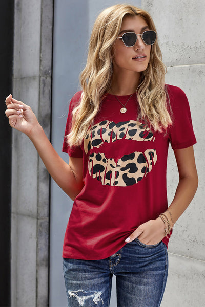Red Modern Vintage Boutique Kiss On The Face Leopard Lip Tee