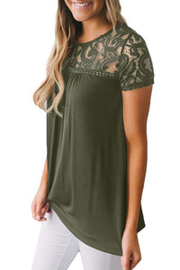 Olive Floral Lace Summer Short Sleeve Blouse