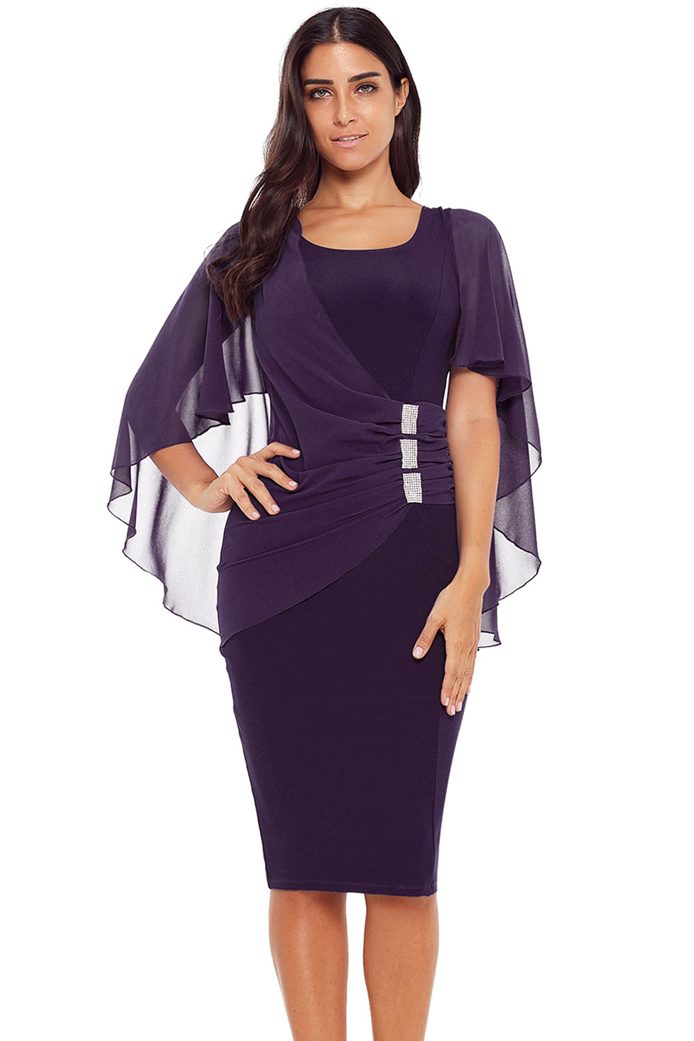Purple Waist Pleats Rhinestone Detail Midi Dress