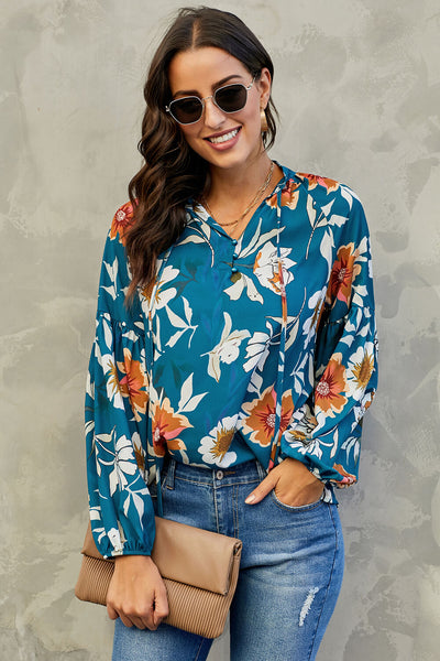 Blue Hues Of Autumn Floral Lantern Sleeve Blouse