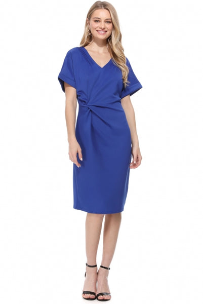 Blue V Neck Cutout Inverted Pleat Bodycon Dress