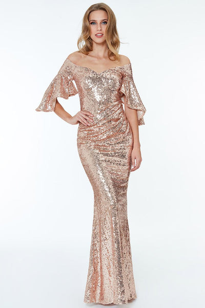 Apricot Off The Shoulder Sequined Maxi Dress