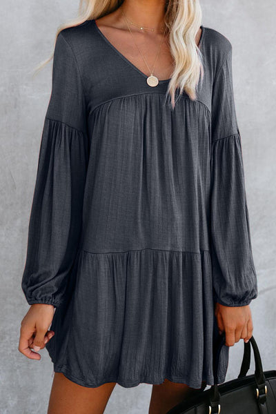 Blue Wanderlust Pocketed Tiered Tunic