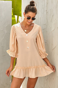 Beige Casual Loose V Neck Short Swing Dress
