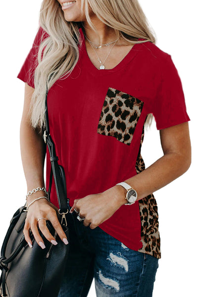 Red Leopard Printed Splicing T-Shirt