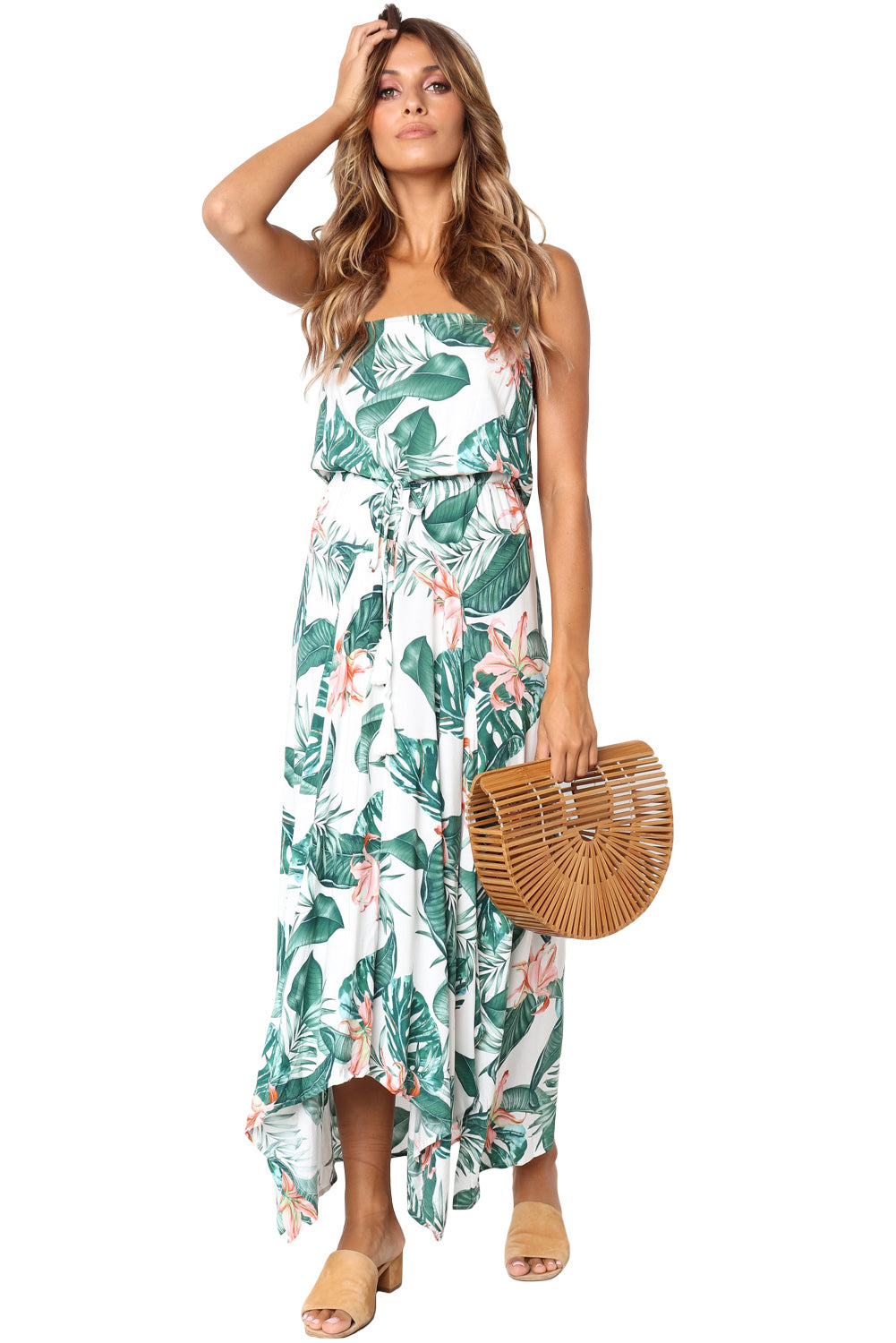 Summer Holiday Green Leaves Print White Maxi Dress