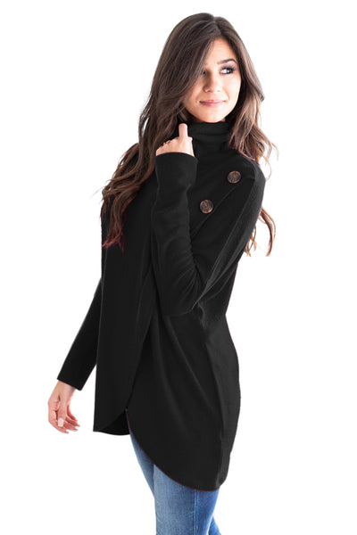 Black Button Cowl Neck Overlap Tunic Top