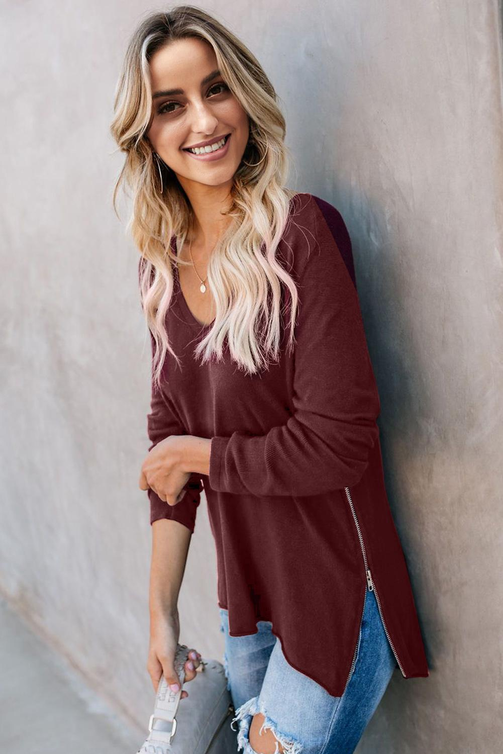 Red Zip Side V Neck Long Sleeve Pullover Top