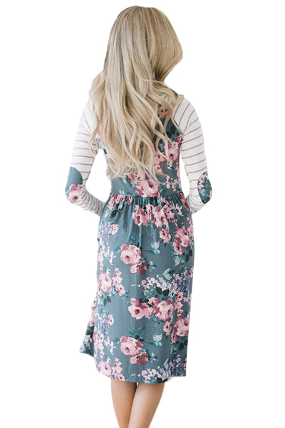 Gray Floral Stripe Long Sleeve Side Pocket Boho Dress