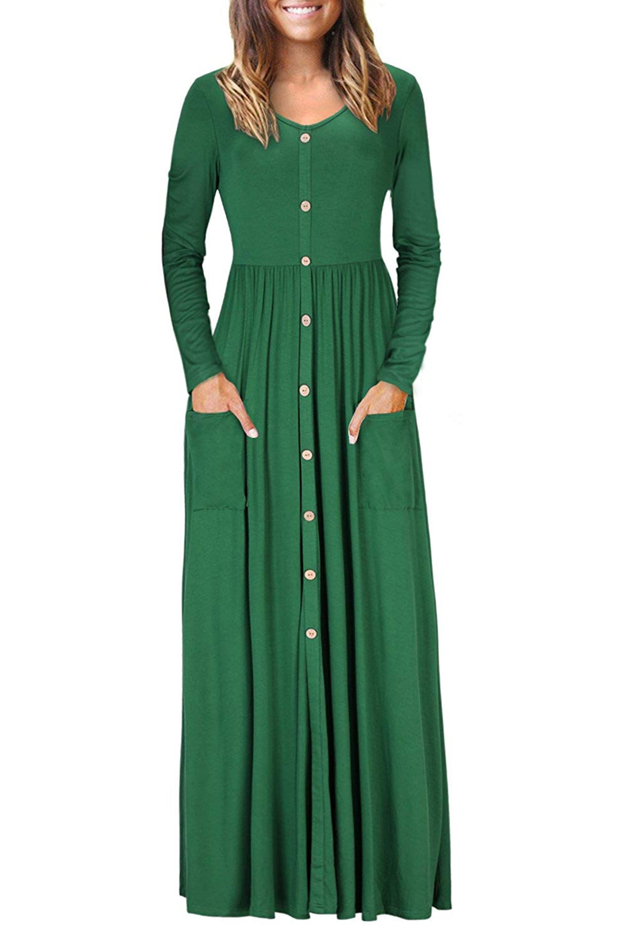 Hunter Green Button Front Pocket Style Casual Long Dress