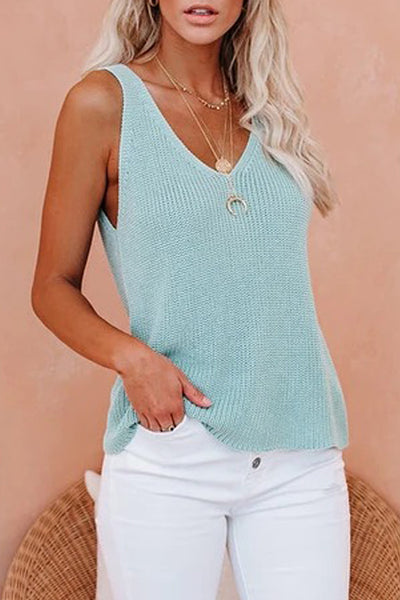 Sky Blue Knit Tank Top