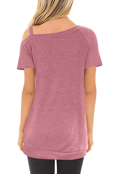 Pink Sling Short Sleeve Casual Buttoned Top