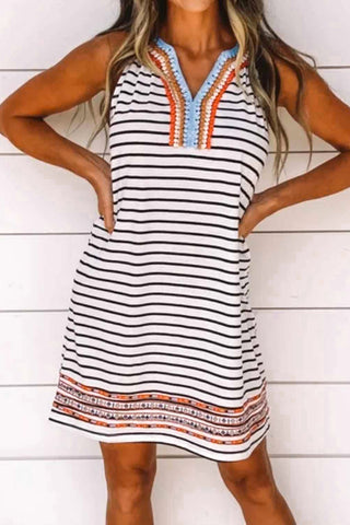 White V Neck Coloured Embroidery Lace Striped Dress