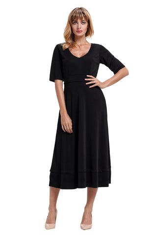Black Half Sleeve V Neck High Waist Flared Dress
