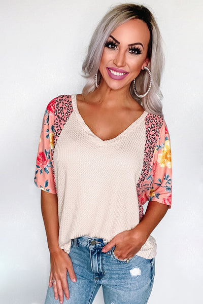 Floral Leopard Half Sleeve Waffle Top