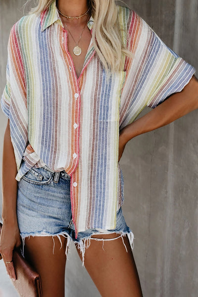 Pale Happier With You Striped Button Top