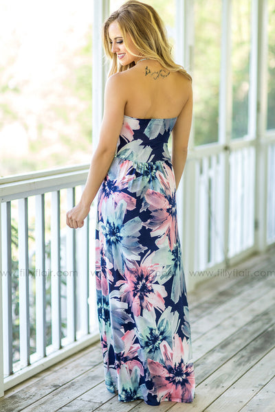 Big Summer Flower Strapless Maxi Dress with Pockets