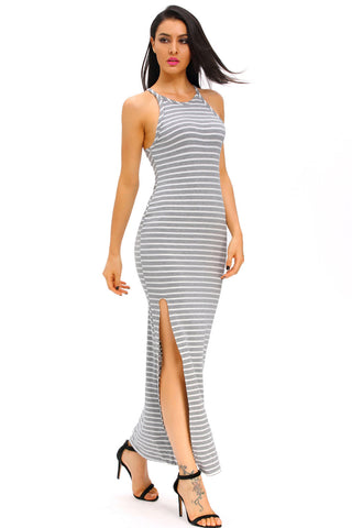 Gray White Stripes Maxi Dress with Side Slit