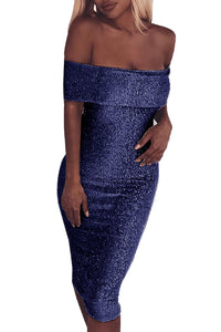 Blue Sparkle Fold Over Off Shoulder Bodycon Dress