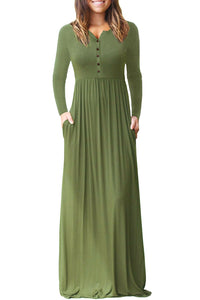 Army Green Long Sleeve Button Down Casual Maxi Dress