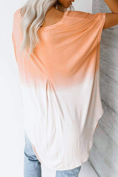 Orange White Ombre Color Block Casual Summer Shirt
