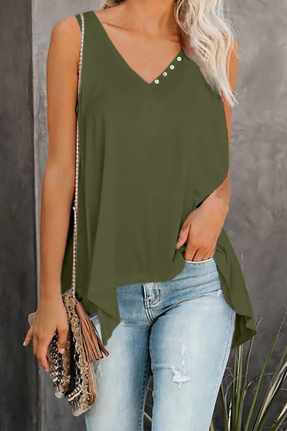 Green V Neck Sleeveless High Low Tank Top