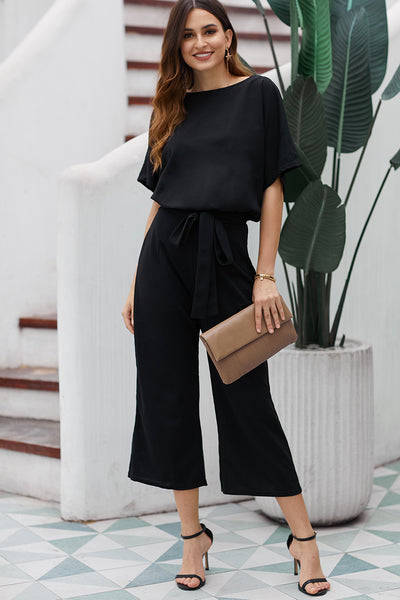 Black Always Chic Belted Culotte Jumpsuit