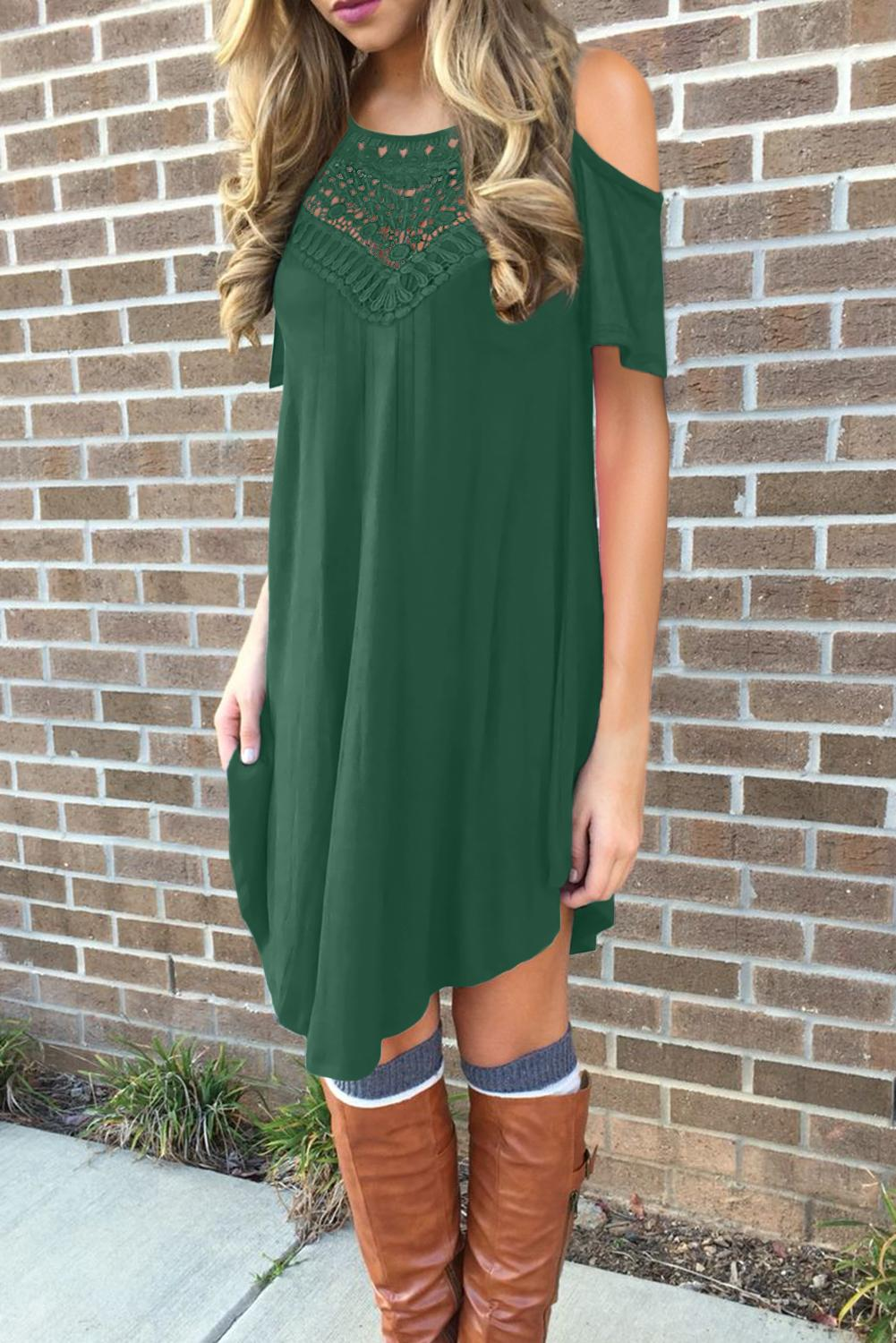 Green Lace Hollow-out Cold Shoulder Casual Dress