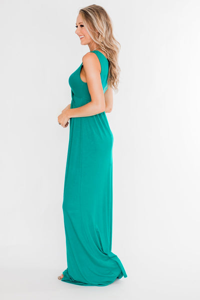 Green Cross Ruched Sleeveless Maxi Dress