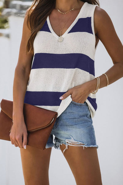 Blue Striped V-Neck Knit Tank