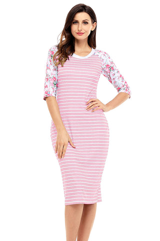 Pink White Stripe Floral Sleeve Midi Dress