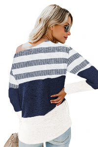 White Color Block Striped Knit Top