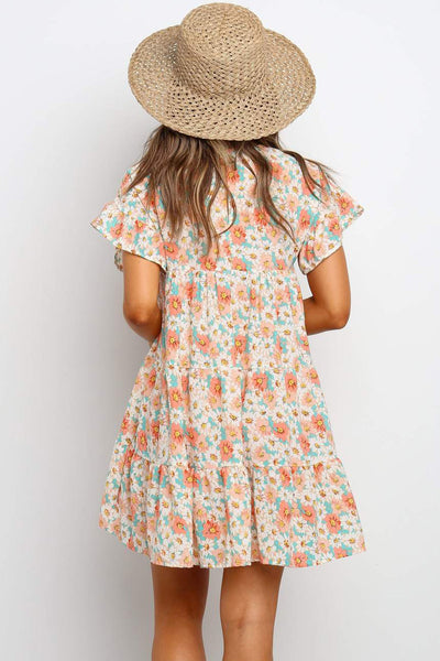 Pink Tiered Gathered Floral Print Short Dress