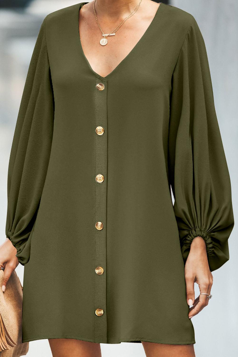 Green Buttoned-down V Neck Billowy Sleeve Shift Dress