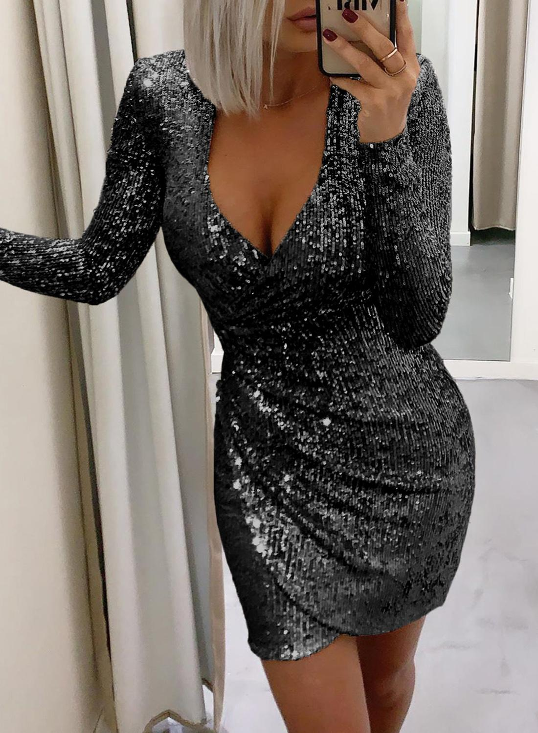 Black Surplice Wrap Ruched Sequin Bodycon Dress