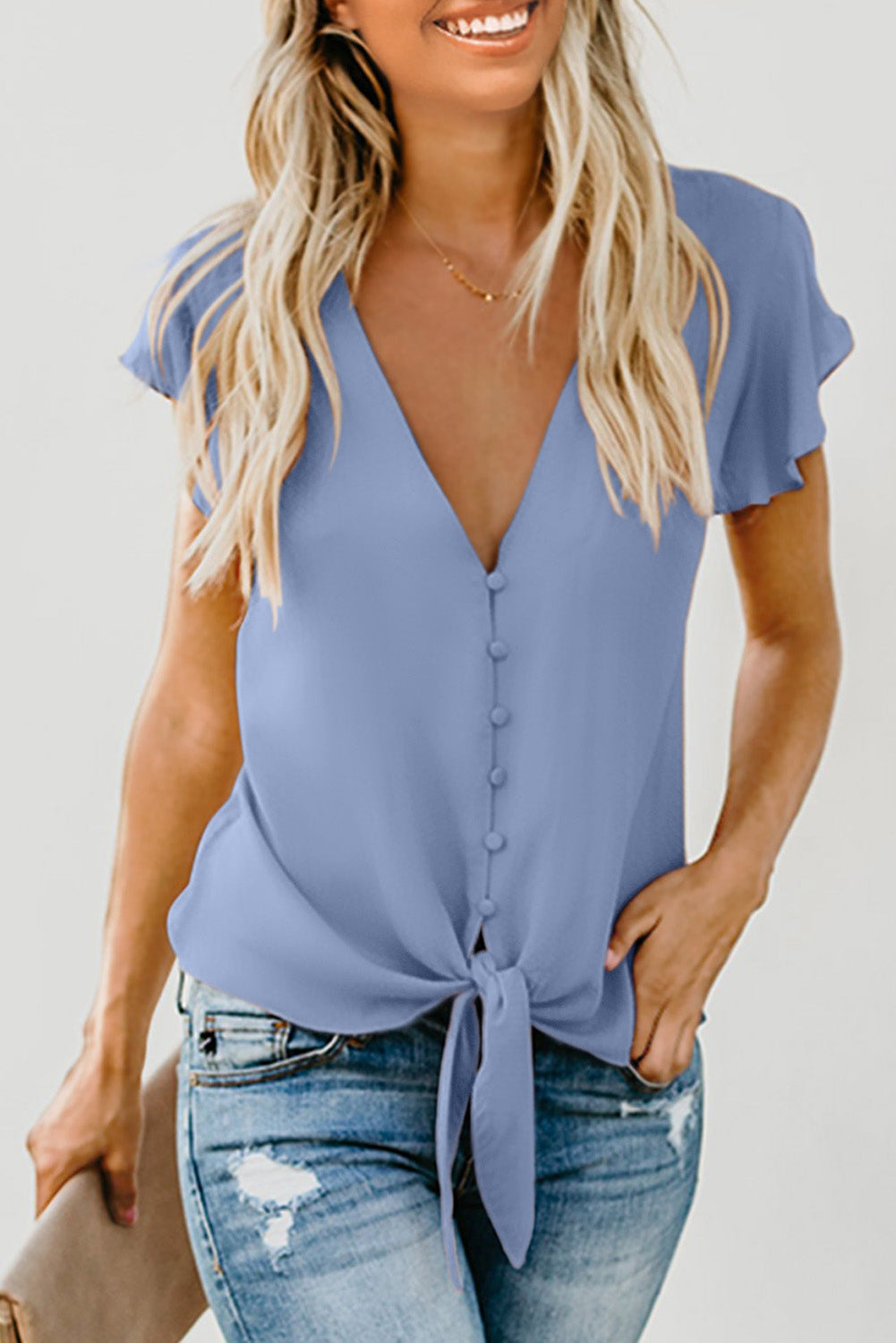 Sky Blue Forever Tonight Button Down Tie Top