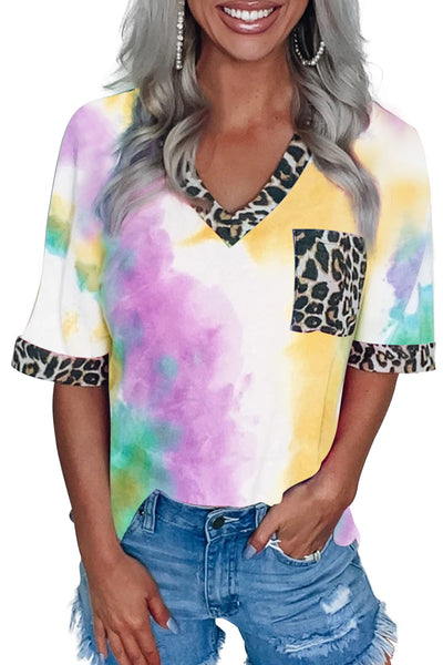 White Hypnotized Tie Dye Leopard Top
