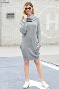 Gray Heap Collar Mini Knit Dress